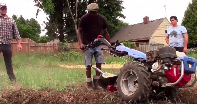 Using BCS rotary plow on rocky soil